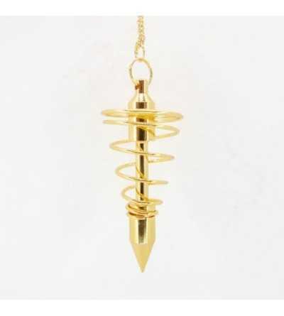 Pendulo Metalico Espiral Dorado Grande
