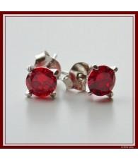 Pendientes diamante rojo rubí