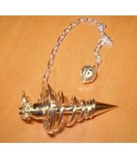 Pendulo Metalico Espiral Plateado