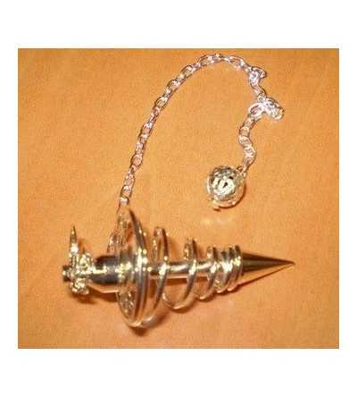Pendulo Metalico Espiral Plateado Grande